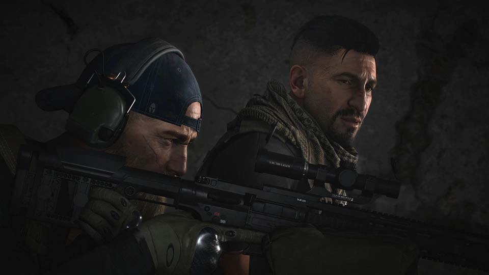 Ghost Recon Breakpoint, cutscene screen shot with two charcters, one holding a rifle.