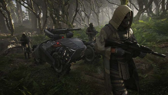 Ghost Recon Breakpoint, players holding rifles next to a vehicle in the jungle
